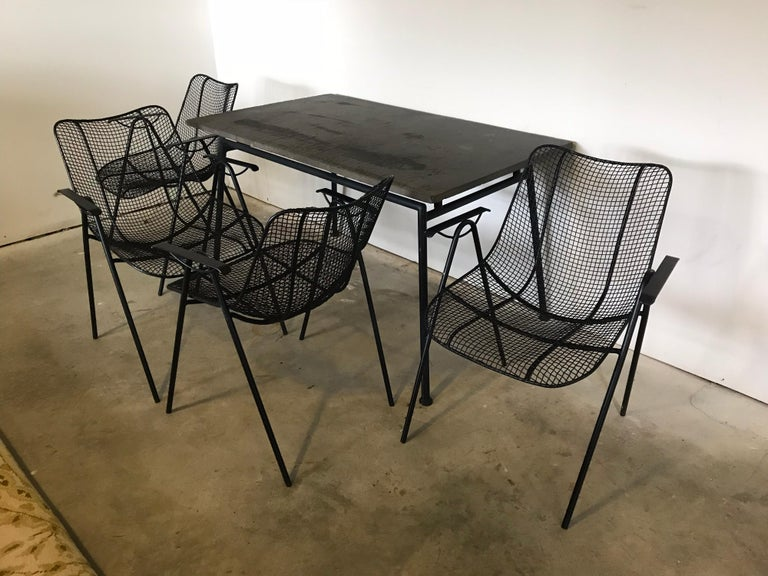 Midcentury Woodard Slate Top Patio Table with Four Wrought Iron Chairs, 1950s For Sale 2