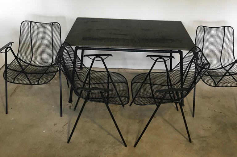 Midcentury Woodard Slate Top Patio Table with Four Wrought Iron Chairs, 1950s For Sale 3