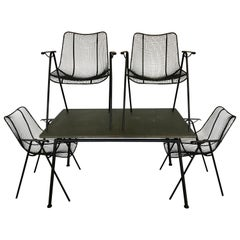 Mid Century Woodard Slate Top Patio Table with Four Wrought Iron Chairs, 1950s