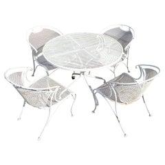 Mid Century Woodard Style Outdoor Dining Set