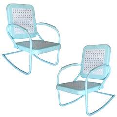 Midcentury Woodard Style Steel Garden Rocking Chair, Pair