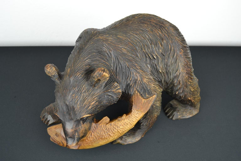 Unknown Mid-Century Wooden Bear with Fish Sculpture For Sale