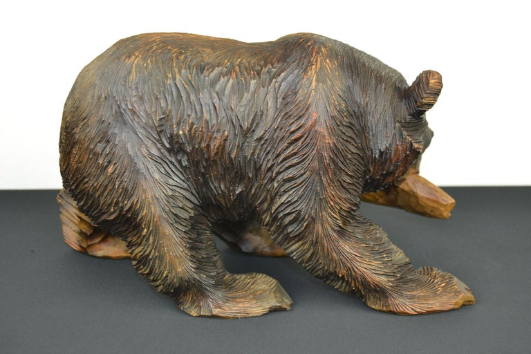 20th Century Mid-Century Wooden Bear with Fish Sculpture For Sale