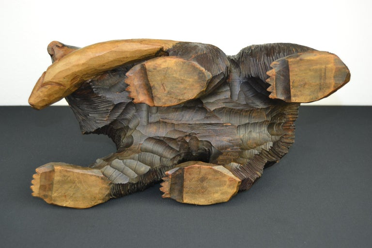 Mid-Century Wooden Bear with Fish Sculpture For Sale 2