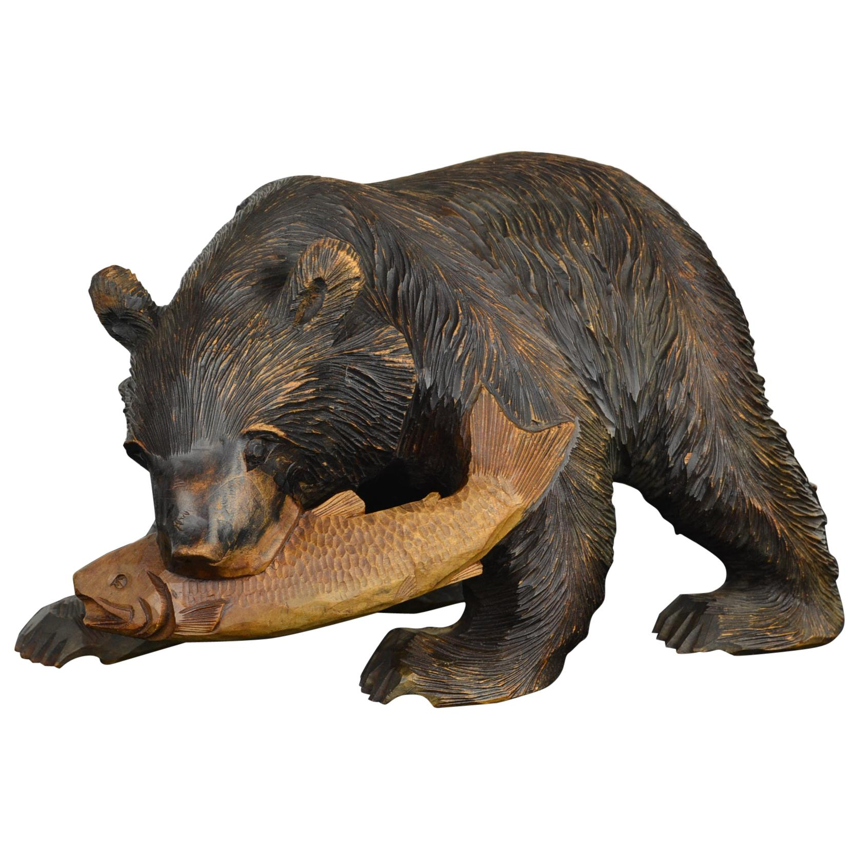 Mid-Century Wooden Bear with Fish Sculpture