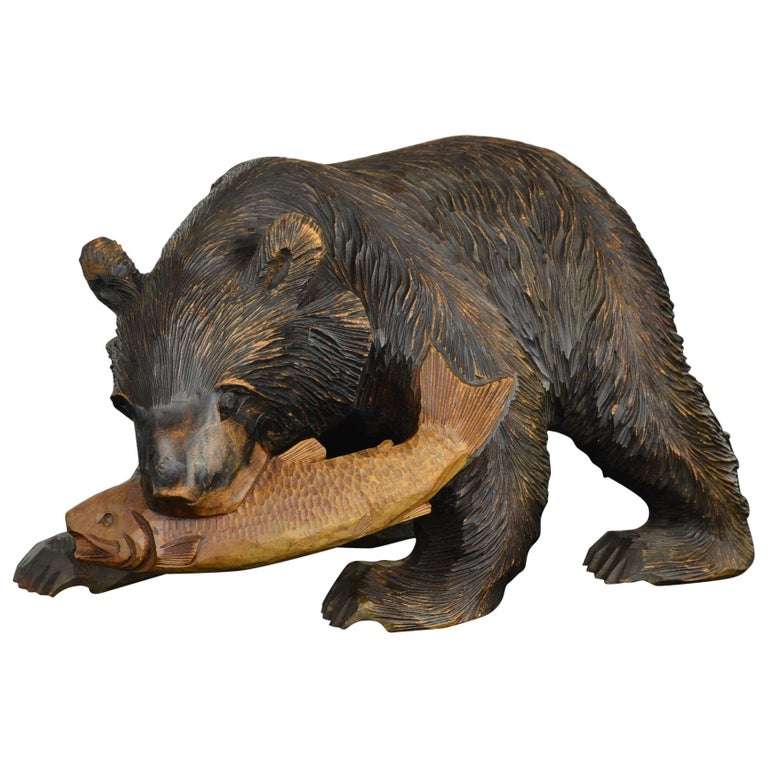 Mid-Century Wooden Bear with Fish Sculpture For Sale