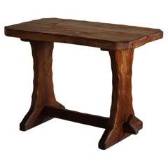 Mid Century Wooden Brutalist Desk in Solid Elm, Made in France, 1950s