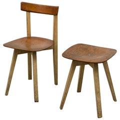 Midcentury Wooden Chair and Stool with Crossed Base by Niko Kralj, 1950s