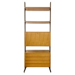 Mid-Century Wooden Drawers Wall Unit, Italy, 1960s