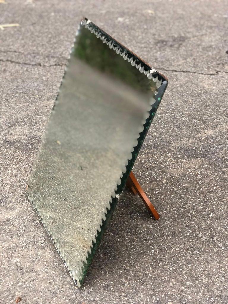 Late 20th Century Midcentury Wooden Elegant Vanity Mirror, Italy For Sale
