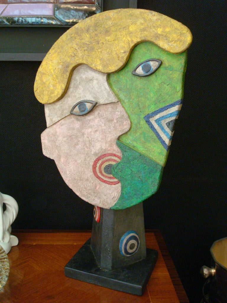 Mid-Century Wooden Face Sculpture of Two People Talking For Sale 4