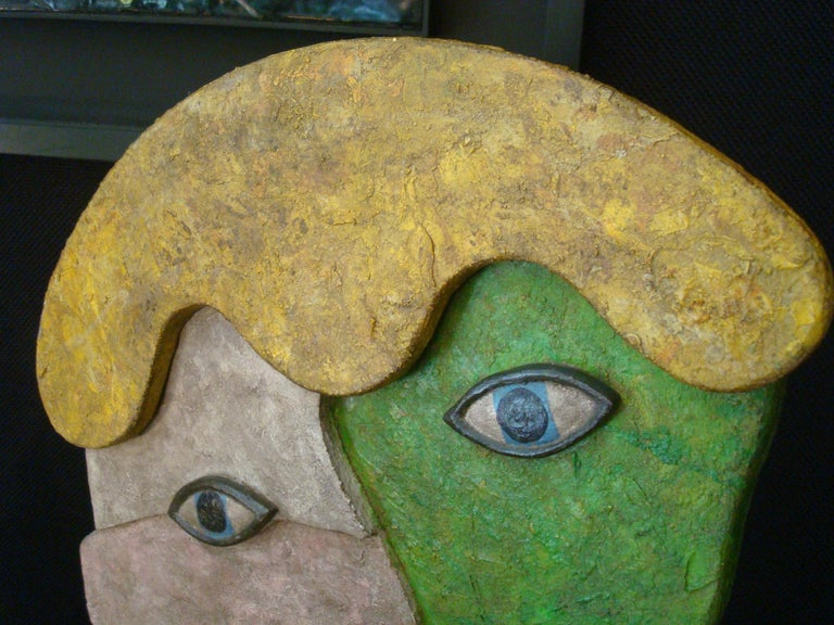 Mid-Century Wooden Face Sculpture of Two People Talking For Sale 7