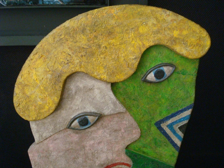 French Mid-Century Wooden Face Sculpture of Two People Talking For Sale
