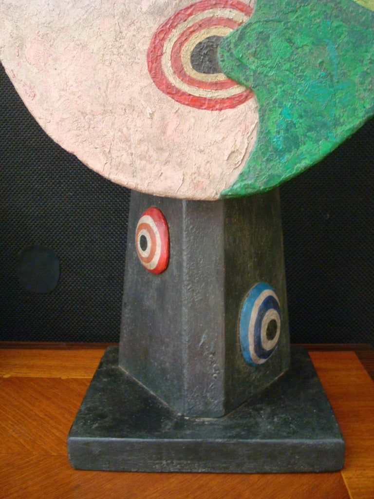 Hand-Painted Mid-Century Wooden Face Sculpture of Two People Talking For Sale
