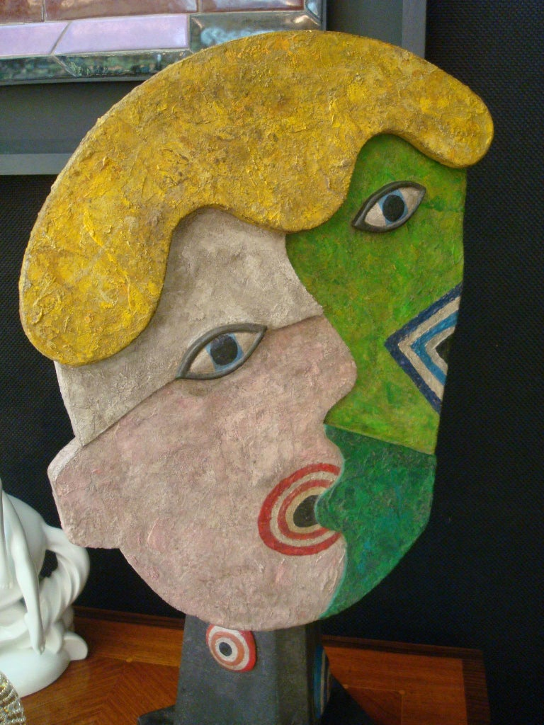 20th Century Mid-Century Wooden Face Sculpture of Two People Talking For Sale