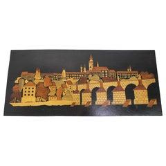 Mid-Century Wooden Illustration of Prague, 1950's