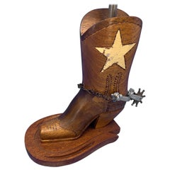 Mid Century Wooden Lone Star Cowboy Boot Table Lamp