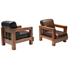 Midcentury Wooden Lounge Chairs