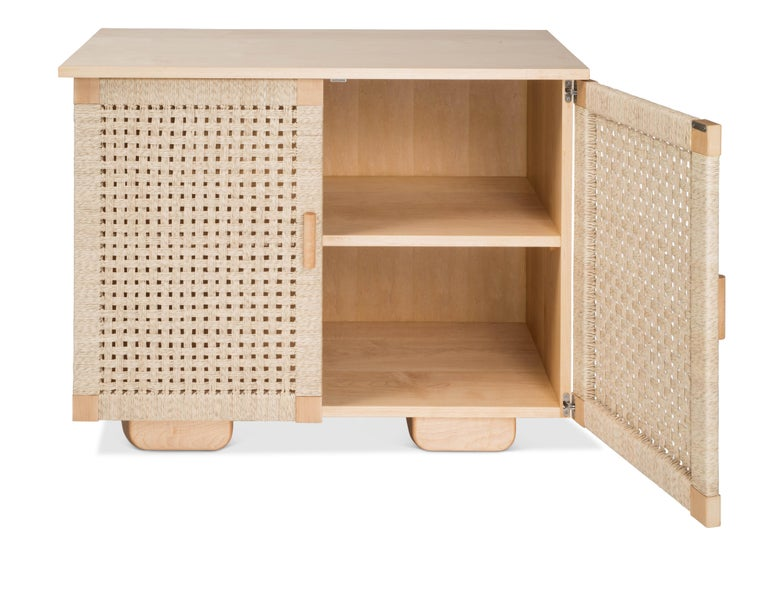 Mid-Century Modern Wooden 'Woven Credenza' in Maple with Palm Cord Doors by Luteca For Sale