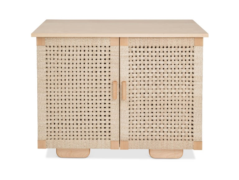 Mexican Wooden 'Woven Credenza' in Maple with Palm Cord Doors by Luteca For Sale