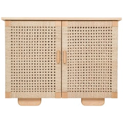Midcentury Wooden 'Woven Credenza' in Maple with Palm Cord Doors by Luteca