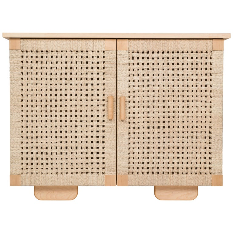 Wooden 'Woven Credenza' in Maple with Palm Cord Doors by Luteca For Sale