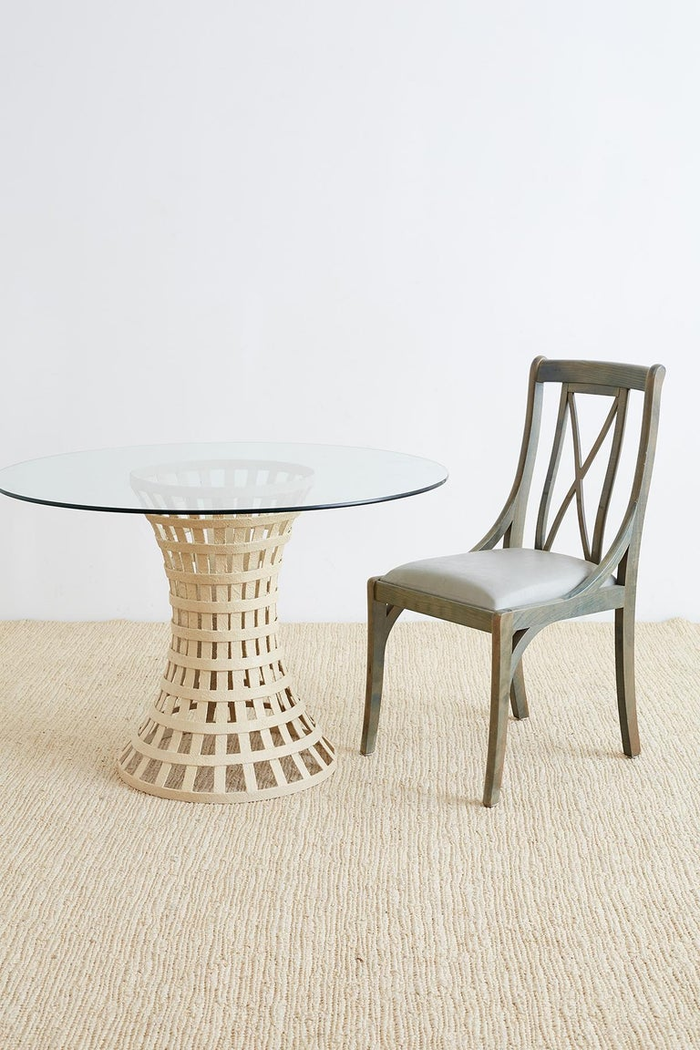 Mid-Century Woven Metal Breakfast or Dining Table For Sale 4