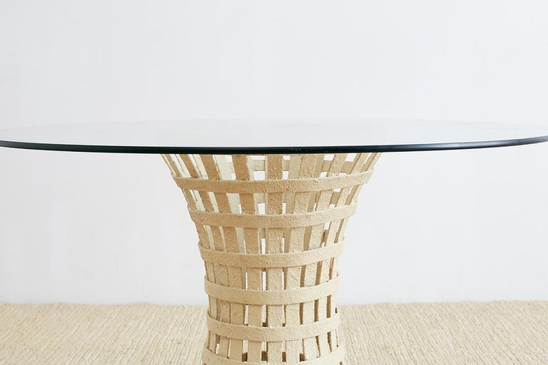 American Mid-Century Woven Metal Breakfast or Dining Table For Sale