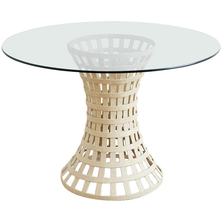 Mid-Century Woven Metal Breakfast or Dining Table For Sale
