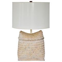Midcentury Woven Rattan Basket Table Lamp
