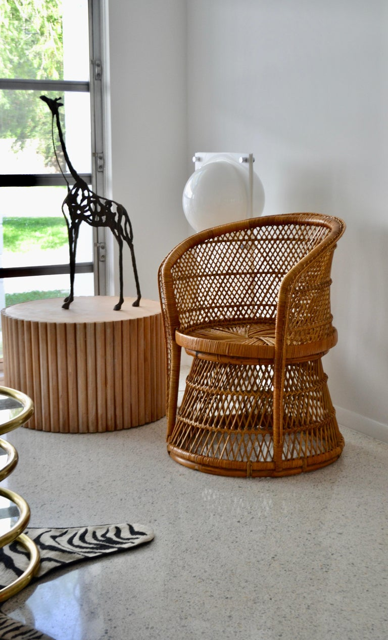 Midcentury Woven Rattan Tub Chair For Sale 3