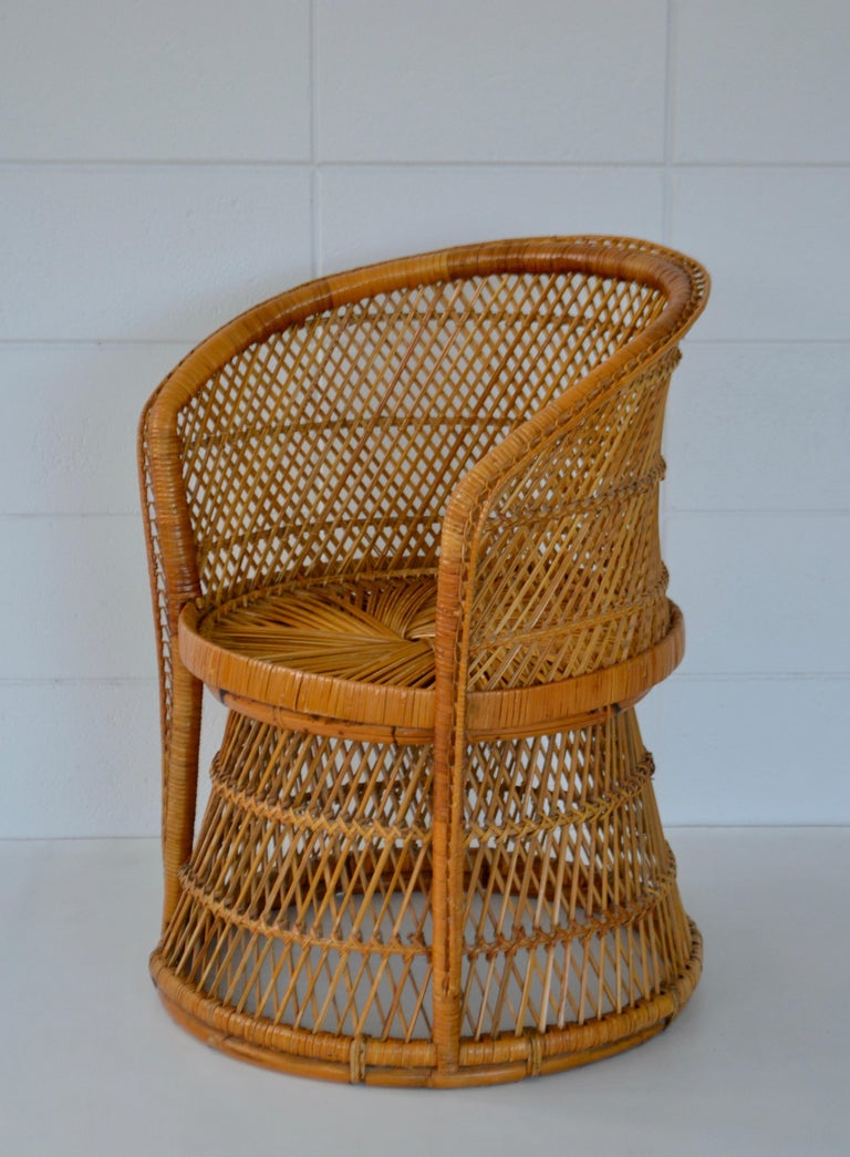 Mid-Century Modern Midcentury Woven Rattan Tub Chair For Sale