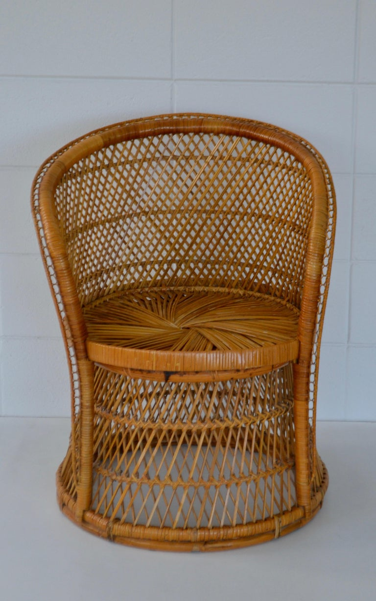 Philippine Midcentury Woven Rattan Tub Chair For Sale