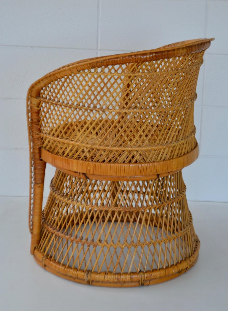 Midcentury Woven Rattan Tub Chair In Excellent Condition For Sale In West Palm Beach, FL