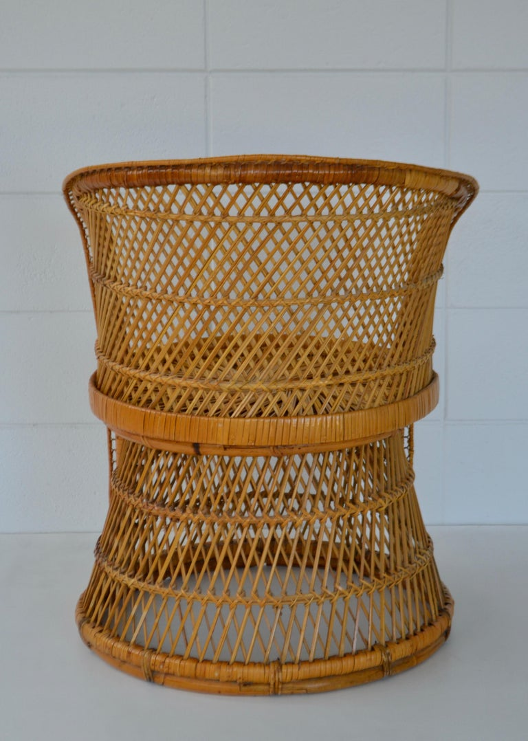 Mid-20th Century Midcentury Woven Rattan Tub Chair For Sale