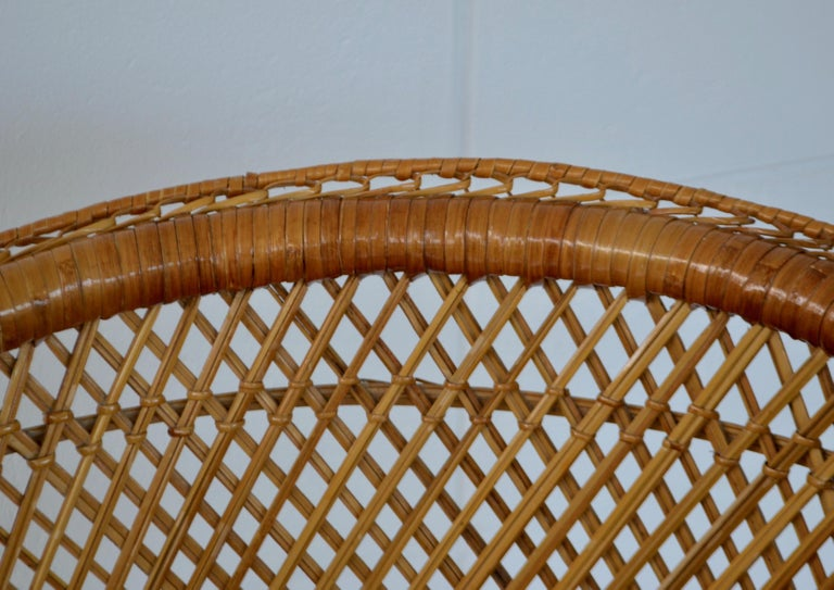 Bamboo Midcentury Woven Rattan Tub Chair For Sale
