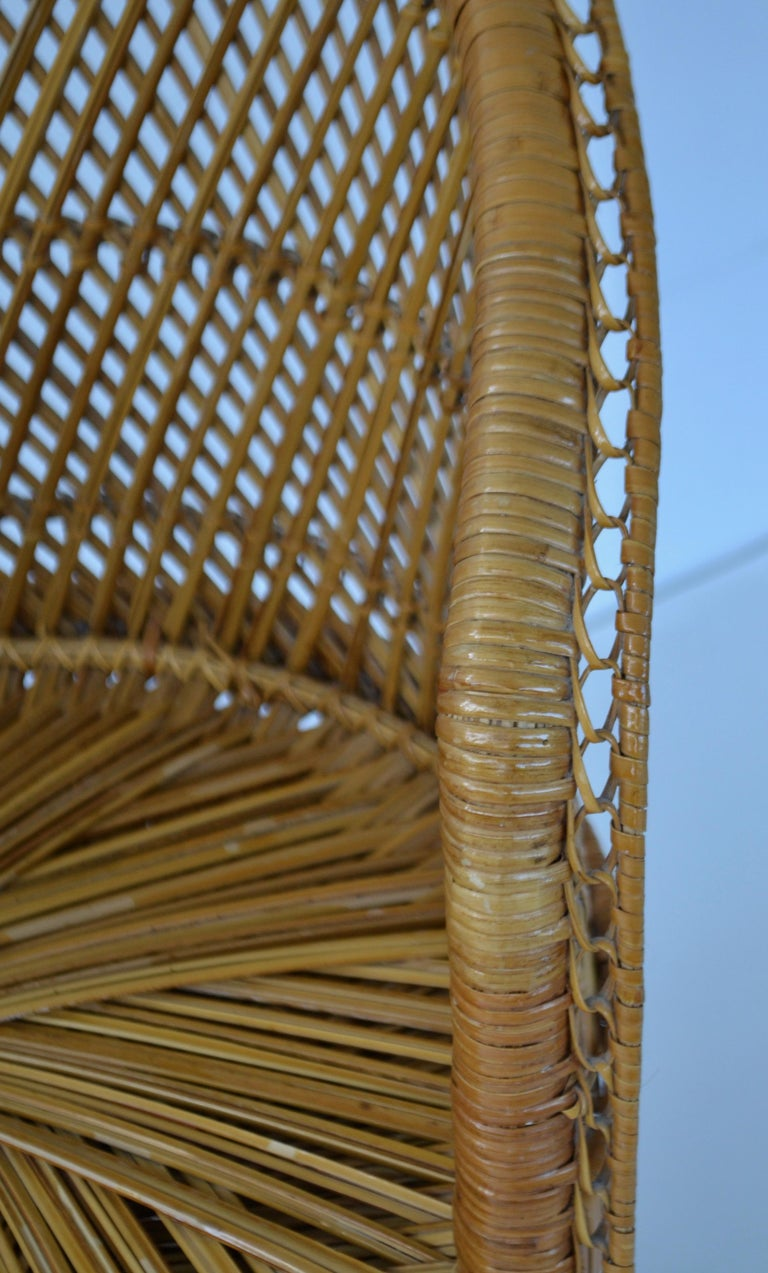 Midcentury Woven Rattan Tub Chair For Sale 1