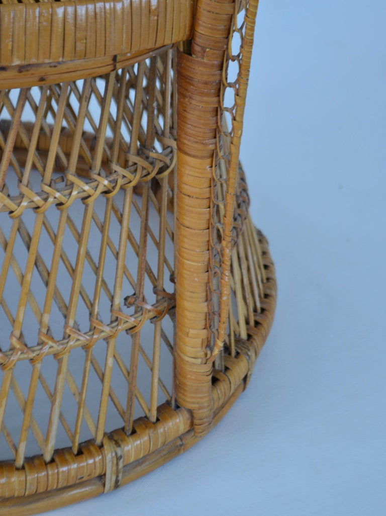 Midcentury Woven Rattan Tub Chair For Sale 2