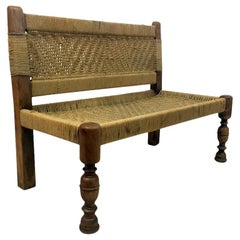 Midcentury Woven Rope Bench in the Style of Audoux and Minet
