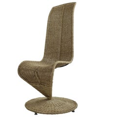 Midcentury Woven Rope 'S' Chair by Marzio Cecchi, Italy, circa 1970