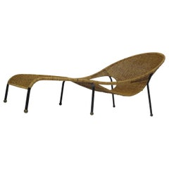 Midcentury Woven Wicker Chaise Lounge
