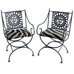 Midcentury Wrought Iron and Cowhide Sunburst Armchairs by Arthur Umanoff