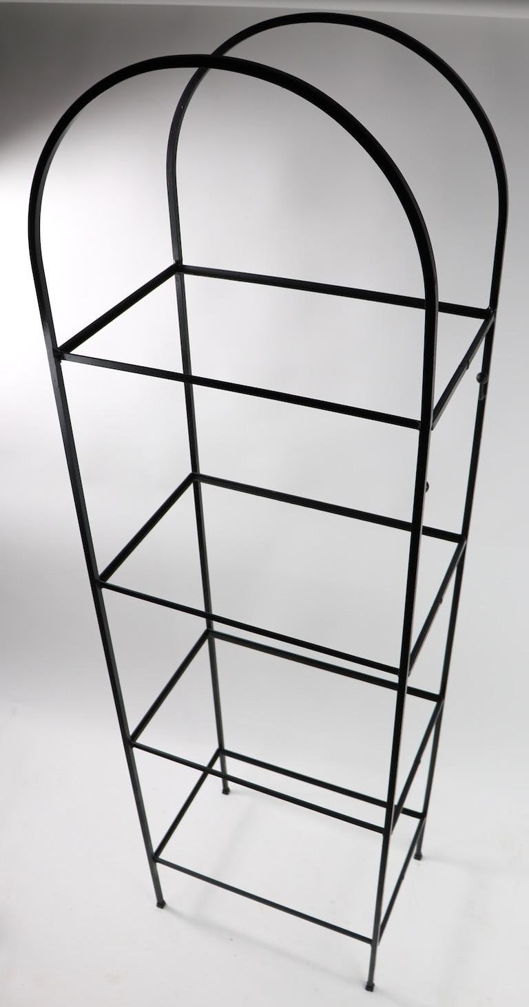 Mid-Century Modern Mid Century Wrought Iron and Glass Shelf Attributed to Umanoff For Sale