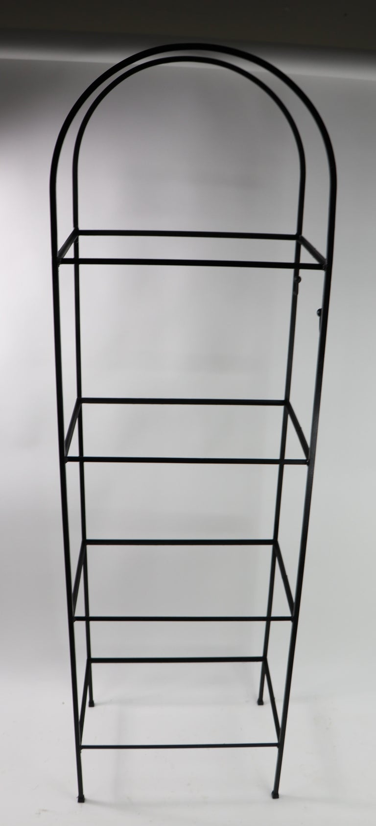 American Mid Century Wrought Iron and Glass Shelf Attributed to Umanoff For Sale