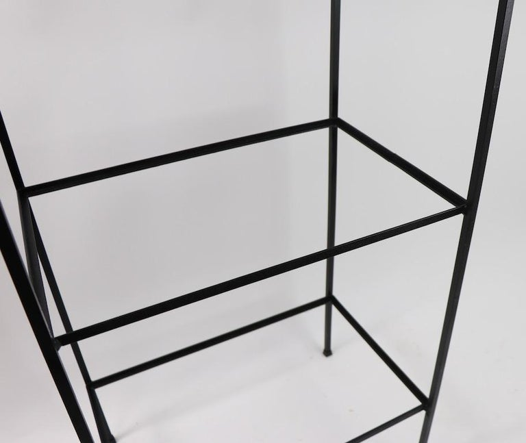 Mid Century Wrought Iron and Glass Shelf Attributed to Umanoff In Good Condition For Sale In New York, NY