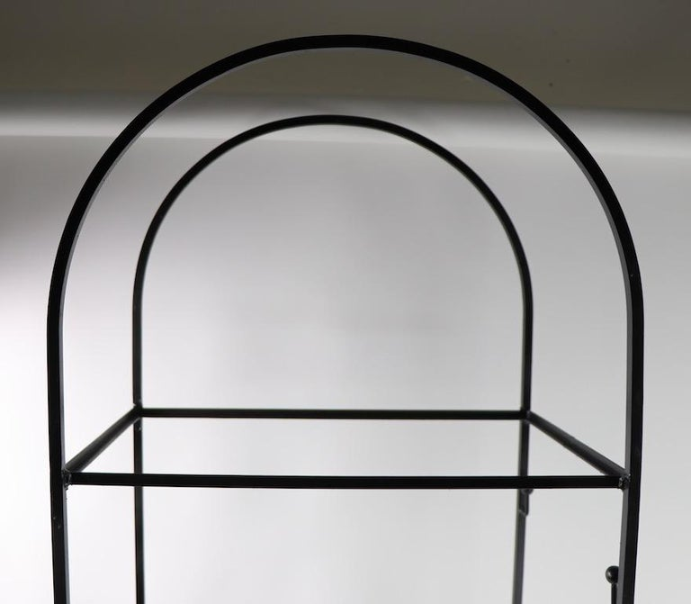 20th Century Mid Century Wrought Iron and Glass Shelf Attributed to Umanoff For Sale