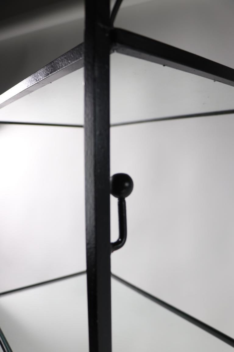Mid Century Wrought Iron and Glass Shelf Attributed to Umanoff For Sale 1
