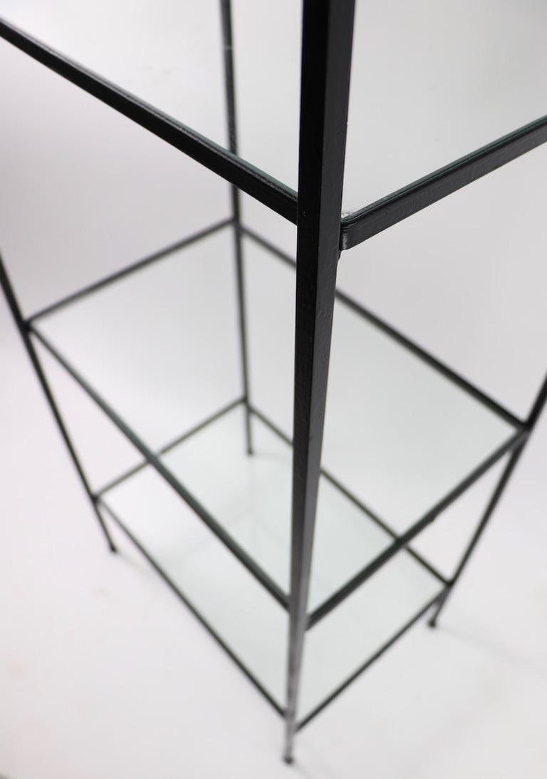 Mid Century Wrought Iron and Glass Shelf Attributed to Umanoff For Sale 2
