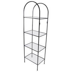 Mid Century Wrought Iron and Glass Shelf Attributed to Umanoff