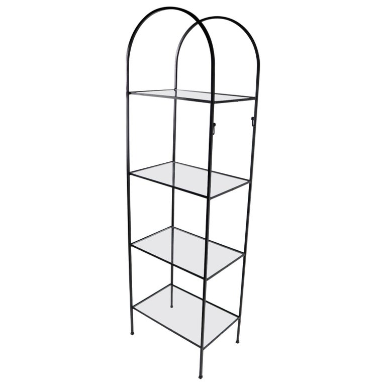 Mid Century Wrought Iron and Glass Shelf Attributed to Umanoff For Sale
